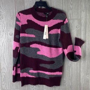 New $228 Aqua Women's 100% CASHMERE Sweater Camo Frayed SMALL Pink Gray NWT